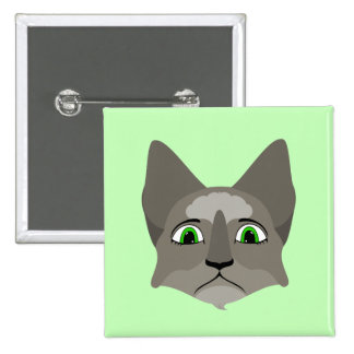 Anime Cat Face With Green Eyes Pin