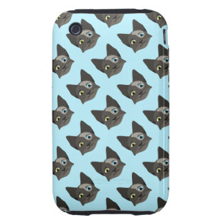 Anime Cat Face With Multi Colored Eyes Tough iPhone 3 Covers