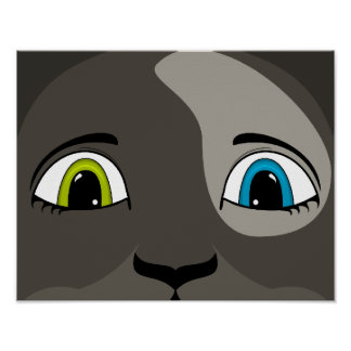 Anime Cat Face With Multi Colored Eyes Posters