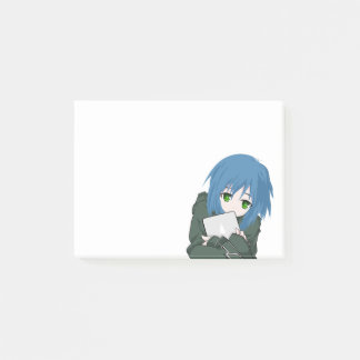 Anime Character Blue Hair Post-it Notes