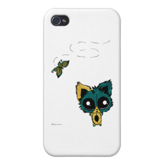 Anime Chibi kitty and butterflies iPhone 4 Covers