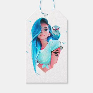 anime cool looking girl design graphic gift tags