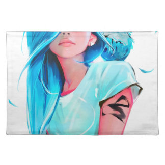 anime cool looking girl design graphic placemat