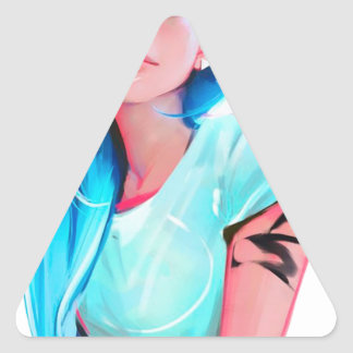 anime cool looking girl design graphic triangle sticker
