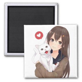 Anime Girl And Her Cat Square Magnet
