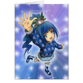 Anime Girl Holiday Greeting Greeting Card