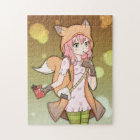 Anime Girl in Fox Cosplay Jigsaw Puzzle