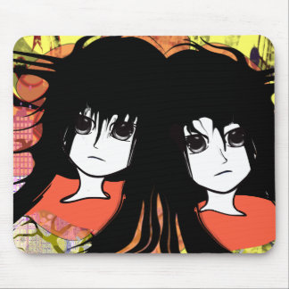 Anime Girls Twin girls BFF Mouse Pad