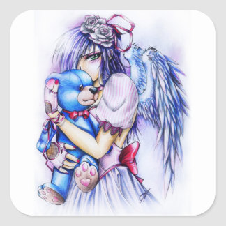 Anime Gothic Pink Angel Girl With Teddy Square Sticker