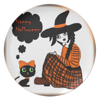Anime Sitting Halloween Witch Dinner Plate