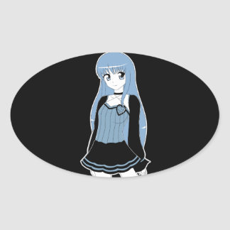 Anime style Monochrome Girl Stickers
