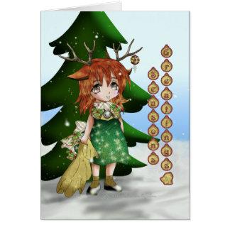 Anime Wee Deer Greeting Cards