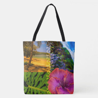 Anini Beach, Kauai Hawaiian Collage Beach Bag