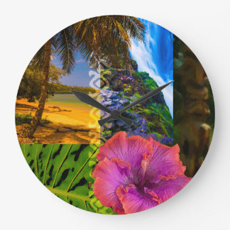 Anini Beach, Kauai Hawaiian Collage Large Clock