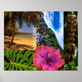 Anini Beach, Kauai Hawaiian Collage Poster