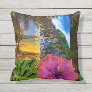 Anini Beach, Kauai Hawaiian Collage Reversible Throw Pillow