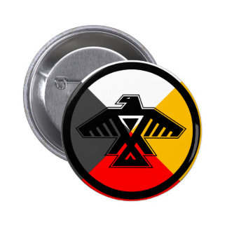 Anishinaabe Thunderbird in the Four Directions 6 Cm Round Badge