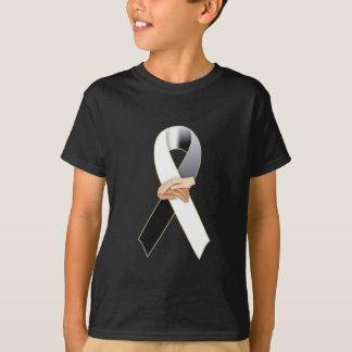 Anit-Racism Black/White Ribbon Awareness T-Shirt
