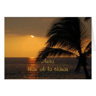 Anita Hawaiian Happy Birthday Tropical Sunset Greeting Cards