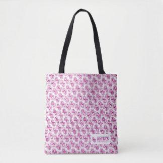 Anita's University Pink pattern tote bag