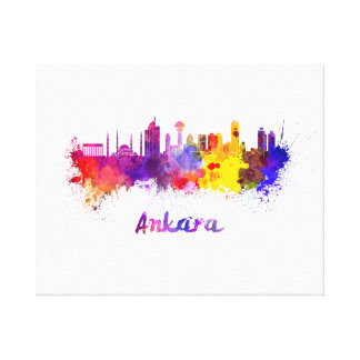Ankara skyline in watercolor canvas print