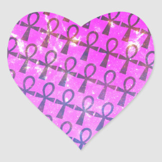 Ankh Pattern Heart Sticker
