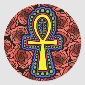 Ankh With Roses Sticker