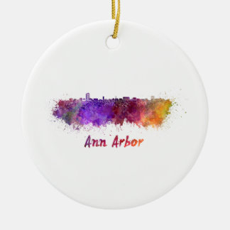 Ann Arbor skyline in watercolor Round Ceramic Decoration