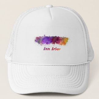 Ann Arbor skyline in watercolor Trucker Hat
