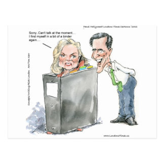 Ann Romney In A Binder Funny Gifts Tees & Cards Postcard