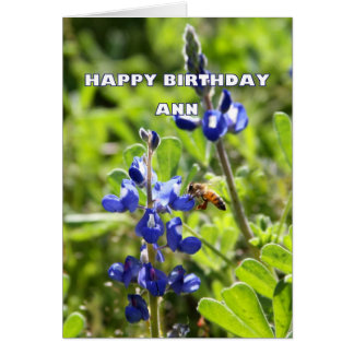 Ann Texas Bluebonnet Happy Birthday Greeting Card