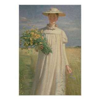 Anna Ancher returning from Flower Picking, 1902 Poster
