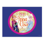 Anna and Elsa with Floral Frame Post Cards