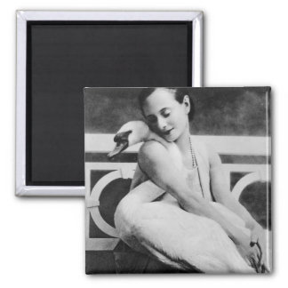 Anna Pavlova with her pet swan Jack, c.1905 Square Magnet
