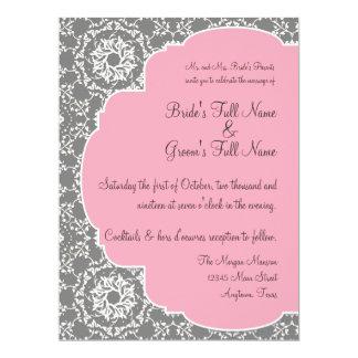 "AnnaLiese Damask - Pink and Grey Invitation 6.5"" X 8.75"" Invitation Card"