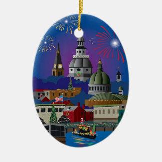 Annapolis Holiday Lights Parade Ceramic Oval Decoration
