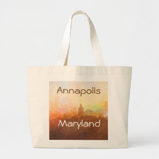 Annapolis Maryland Skyline IN CLOUDS Large Tote Bag