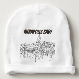 Annapolis Maryland Skyline SG-Black & White Baby Beanie