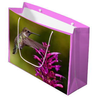 Anna's Hummingbird Hovering Before Anise Hyssop Large Gift Bag