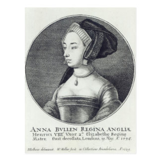 Anne Boleyn, etched by Wenceslaus Hollar, 1649 Postcard