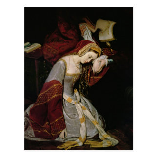 Anne Boleyn  in the Tower, detail, 1835 Postcard