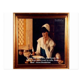 """Anne Bradstreet """"Love Thee"""" Love Quote Gifts & Tee Postcard"""
