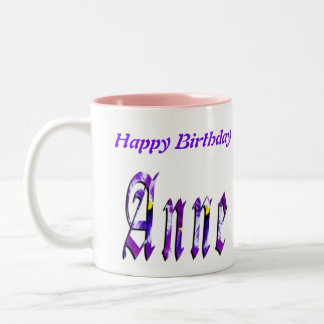 Anne Happy Birthday Logo, Pink Combo Coffee Mug. Two-Tone Coffee Mug