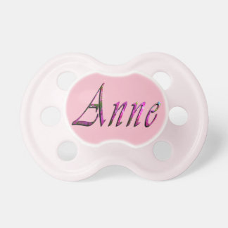 Anne, Name, Logo, Baby Girls Pink Pacifier Dummy