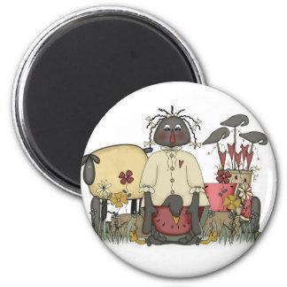 Annie Doll Sheep & Crows 6 Cm Round Magnet