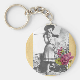 Annie Oakley Vintage Photo Flower Cowgirl Gun Key Ring