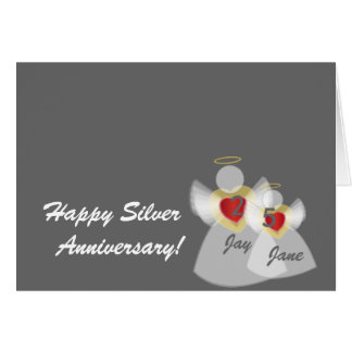 Anniversary # 25-Customize Greeting Card