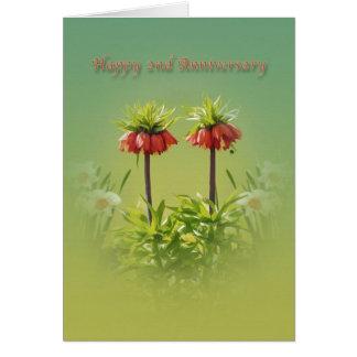 Anniversary, 2nd, Red Rubra Tulips Card