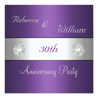 Anniversary 30th Elegant Purple & Pearl Jewel Card