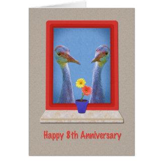Anniversary, 8th,  Two Sandhill Cranes Card